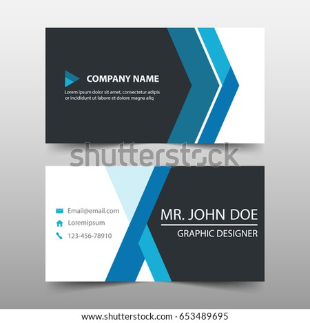 Blue corporate business card name card stock vector 653489695 blue corporate business card name card template horizontal simple clean layout design template wajeb Images