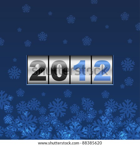 Blue counter 2012 new year card. - stock vector