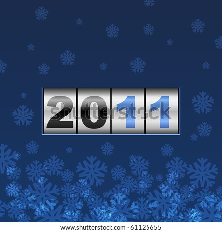 Blue counter 2011 year card. - stock vector