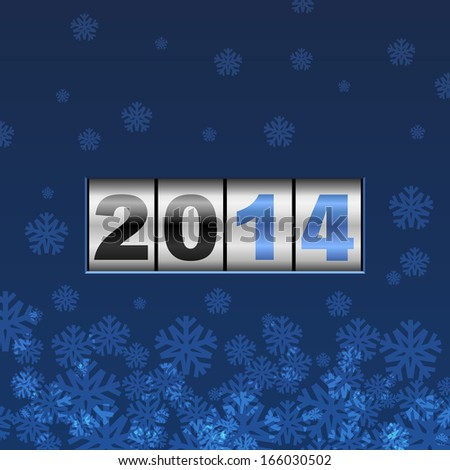 Blue counter 2014 year card with snowflakes. - stock vector