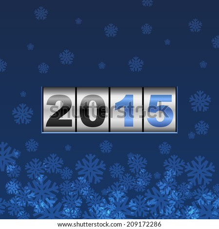 Blue counter 2015 year card with snowflakes. - stock vector