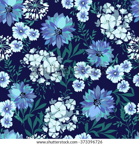 blue country floral ~ seamless background  - stock vector