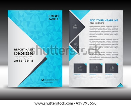 Blue Cover Design Annual Report Template Stock Vector