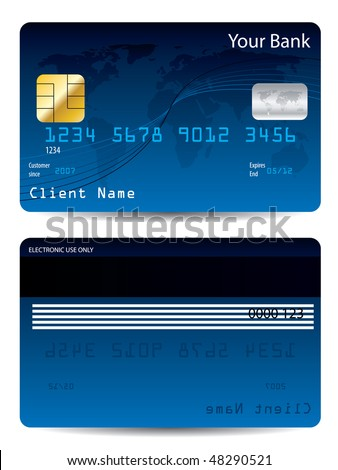 Blue credit card - stock vector