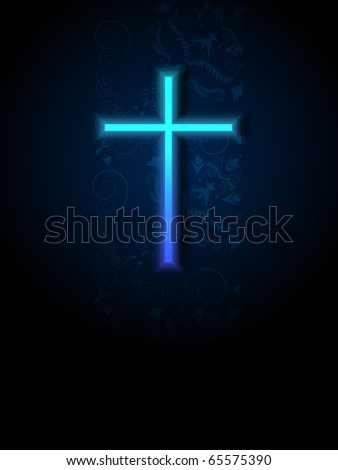 Blue cross with damask background.Vector. - stock vector