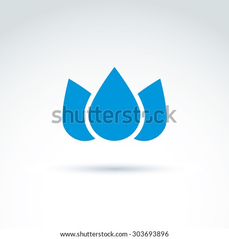 Blue crown created from three water drops, vector ecology coronet. Ecology symbol on planetary resources theme. - stock vector