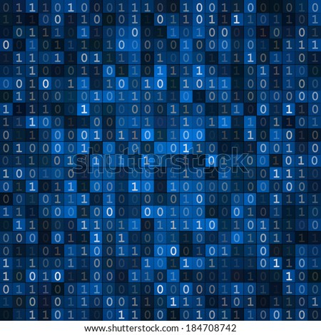 Blue cryptography encoding screen computer binary code pixels  background - stock vector