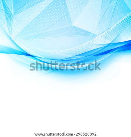 Blue crystal and swoosh wave pattern layout abstract modern hi-tech background with border template. Vector illustration - stock vector