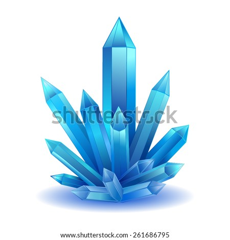blue crystal stone isolated vector bright crystal healing energy