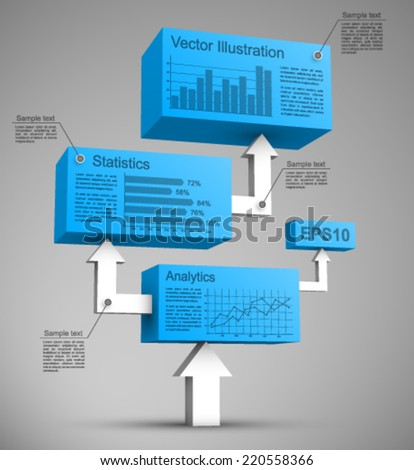 Blue cubes with arrows 3D. - stock vector