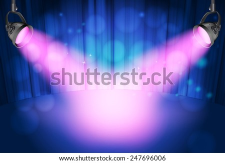 blue curtain background with pink spot lights - stock vector