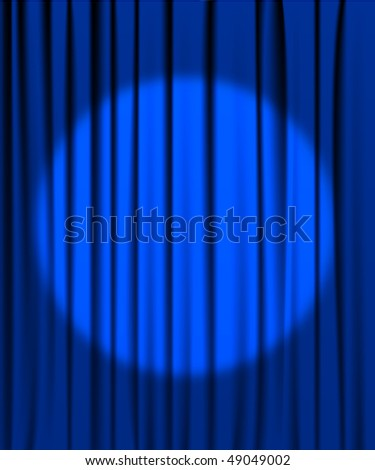 Blue curtain from the theatre with a spotlight - stock vector