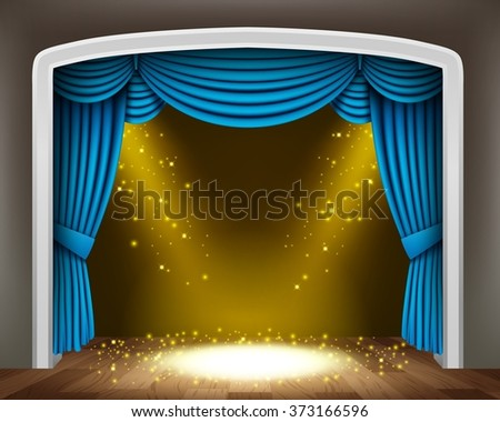 Blue curtain of classical theater with gold spotlights and sprinkles on wood floor - stock vector