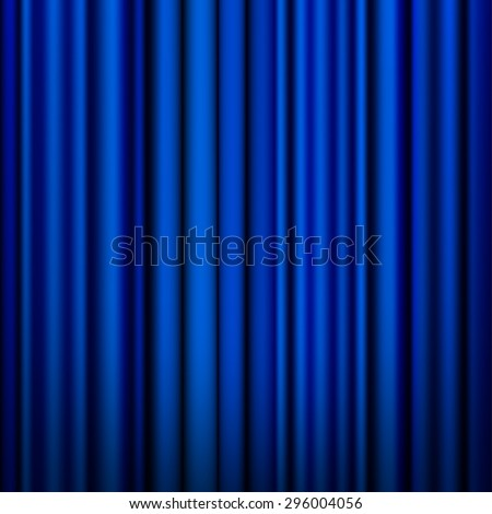 Blue curtain vector background.