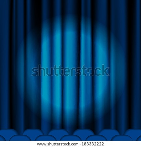 Blue curtains to theater stage. Mesh.EPS10.This file contains transparency. - stock vector