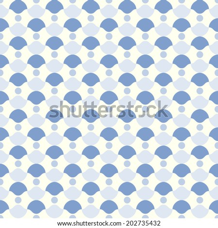 Blue curve cup and circle pattern on pastel background. Retro and classic seamless pattern style for modern or graphic design. - stock vector