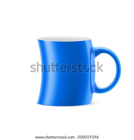 Blue curve cup of something is on white background - stock vector