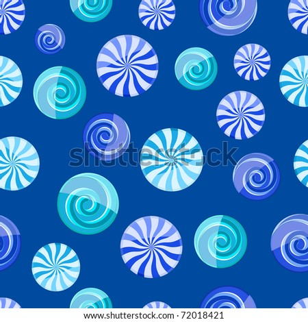 blue cyan striped candy seamless pattern on dark blue background - stock vector
