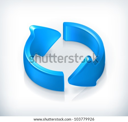 Blue cycle arrows, vector - stock vector