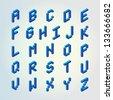 Blue 3D digital pixel font design vector set (Letters) - stock photo