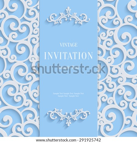 Blue 3d Floral Curl Background with Swirl Damask Pattern for Christmas or Wedding or Invitation Card. Vector Vintage Design Template - stock vector
