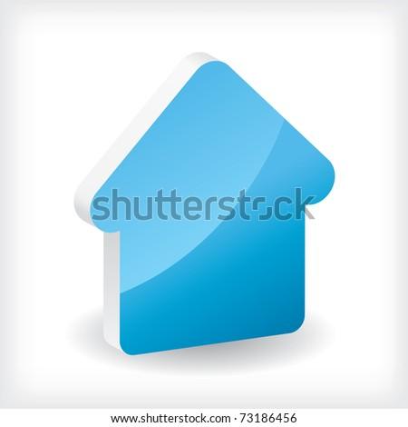 Blue 3d house icon - stock vector