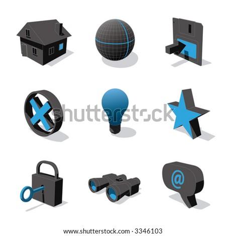 blue 3D icon set 01 - stock vector