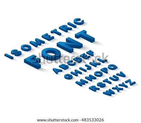 Blue 3d isometric font alphabet with drop shadow on white background. Vector illustration