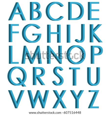 Blue 3d Letters English Alphabet 3D Font For Design Poster Or Banner Vector Illustration
