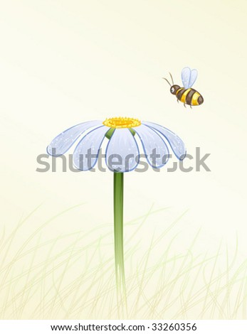 Blue daisy and a bee collecting honey painted in watercolor (vector image, other flowers are in my gallery)