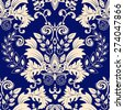 Blue damask seamless pattern - stock vector