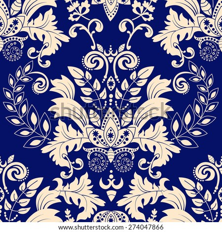 Blue damask seamless pattern - stock vector