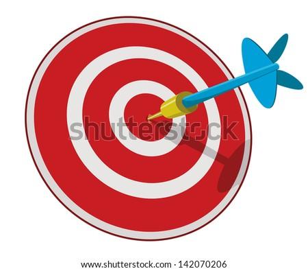 blue dart hitting center of dart board - stock vector
