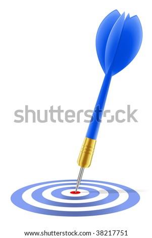 Blue dart hitting the target - stock vector