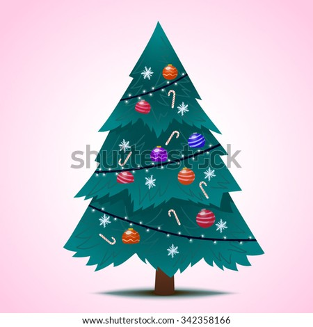 Blue decorated Christmas fir-tree for the New Year for your congratulations. Vector Illustration. - stock vector
