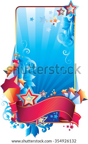 Blue decorative frame with stars and ribbon
