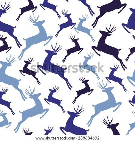 blue deer decorate pattern on isolated background vector illustration - stock vector