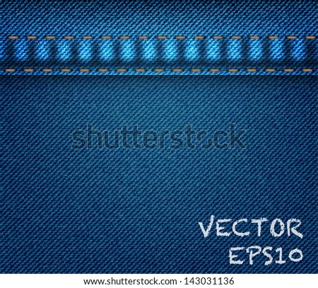 Blue denim jeans fabric background,Vector EPS10 - stock vector
