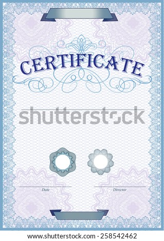 Blue detailed certificate template with protective elements - stock vector