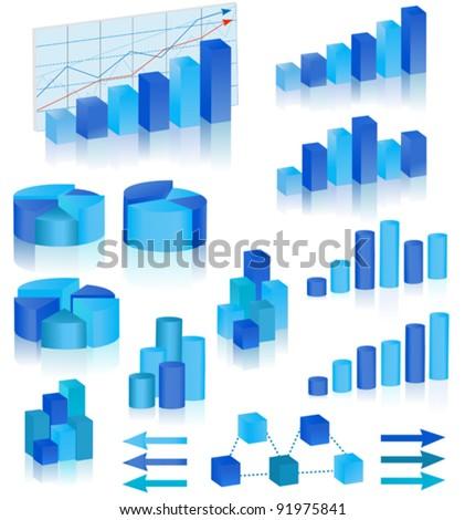blue diagrams set - stock vector