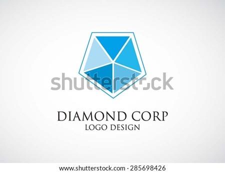 Blue Diamond Shaped Logo Blue Diamond Pentagon Logo