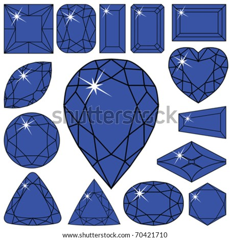 blue diamonds collection against white background, abstract vector art illustration - stock vector