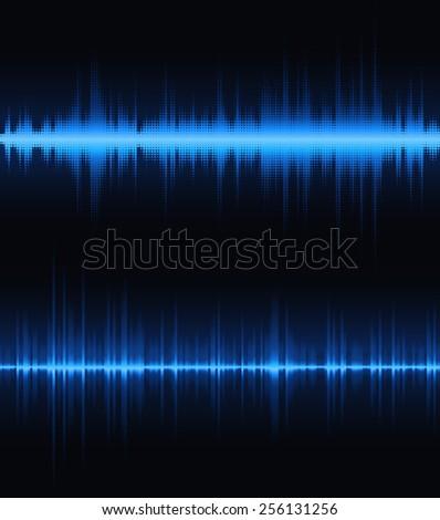Blue digital equalizer. Vector illustration. - stock vector