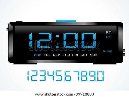 Blue digital vector clock. - stock vector