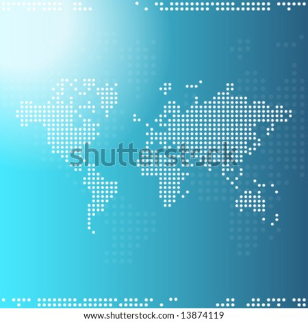 Blue Digital world map abstract background - trendy business website  template with copy space Contemporary texture  - stock vector
