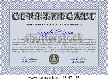 blue diploma certificate template complex background stock vector  blue diploma or certificate template complex background vector pattern that is used in currency