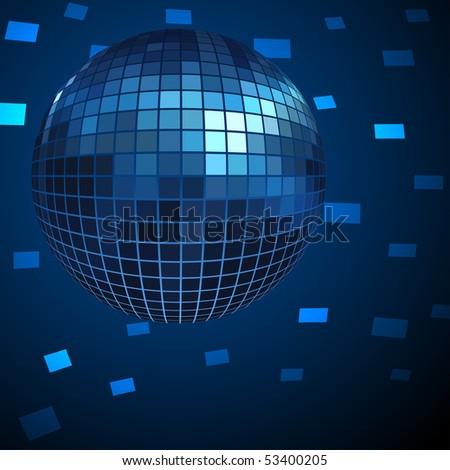 Blue Disco ball vector background. EPS10 file. - stock vector