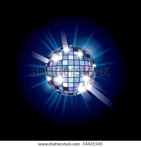 Blue disco ball. Vector illustration. - stock vector