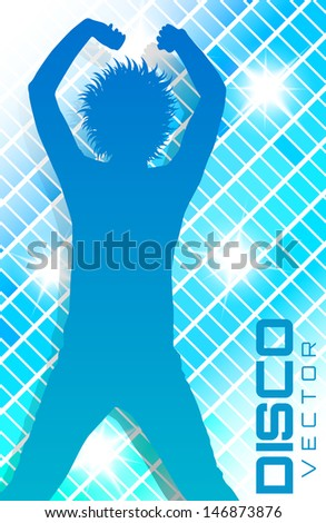 Blue Disco party poster with silhouette - stock vector