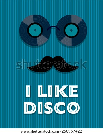 blue disco poster with hipster - stock vector